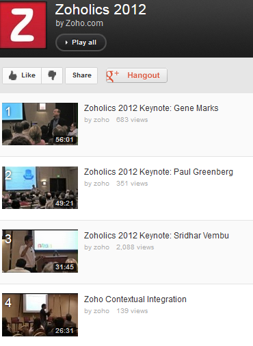 Video Playlist from Zoholics events 2012